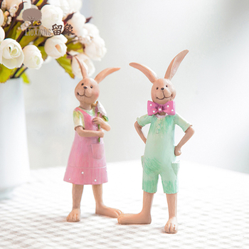 LX Resin Rabbit Animal Figurine Home furnishing Decor Birthday Present Couple Gift Micro Landscape Ornament Home decor