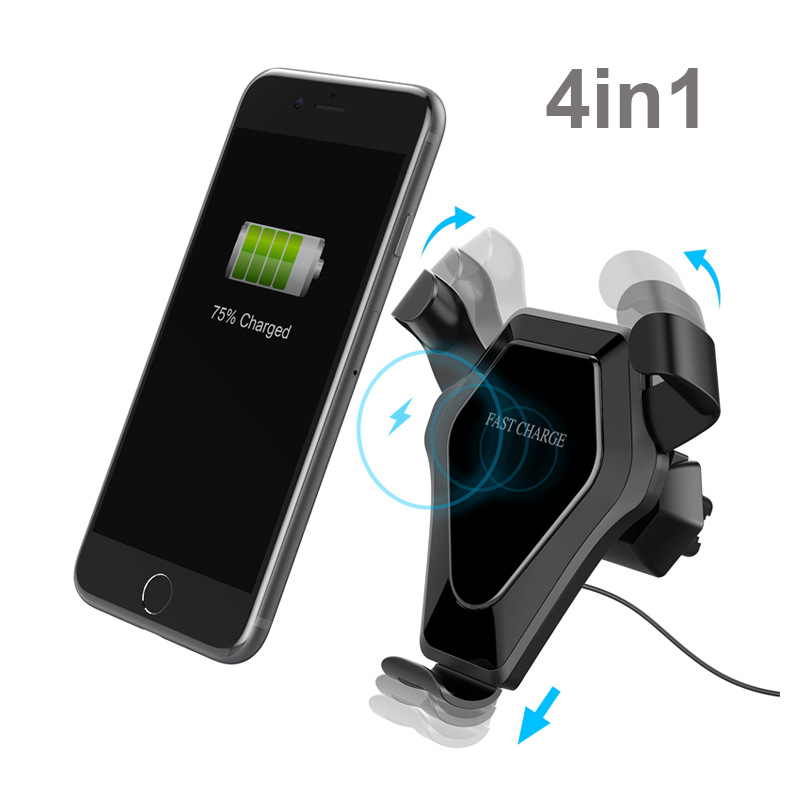 4in1 Fast Qi Wireless/Dock/Outlet/Suction charger For iphone X 8 Plus Car wireless charging for note 8 S9 for Huawei P20 Pro