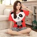 Short Sleeve Cotton Cute Animal Print 2 Pieces Pajamas for Women Young Girl Panda Sleepwear Pijama Feminino