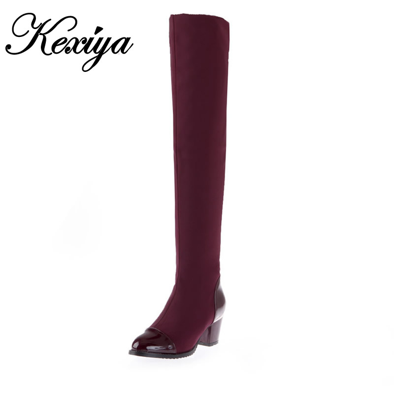 ФОТО 2015 New big size 33-43 winter women shoes fashion stretch Thin leg high heel botas Pointed Toe Slip-On Over-the-Knee boots