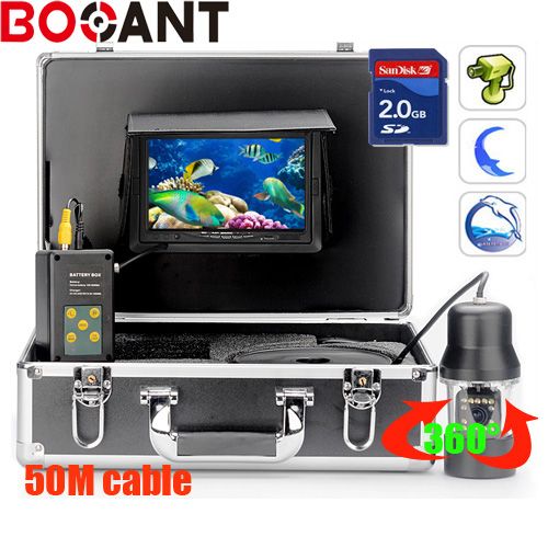 50m Underwater DVR Fishing Video Camera Waterproof System With 360 degree rotation CCD Camera with 7 Inch LCD moniot box