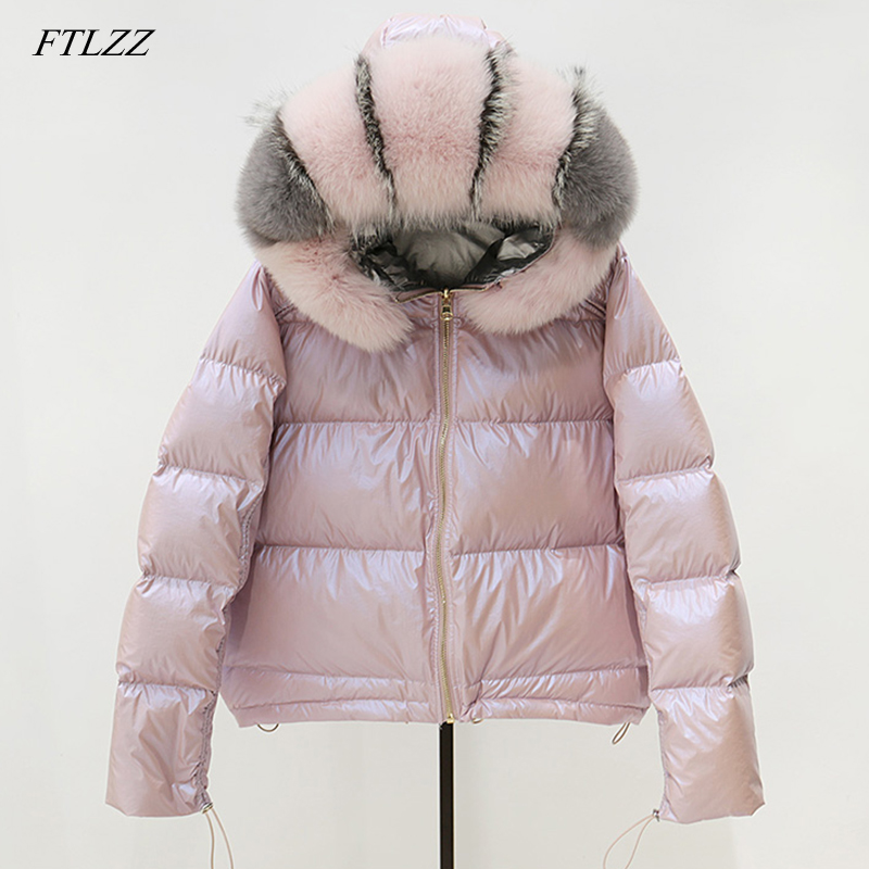 FTLZZ Winter Real Fur Collar Silver Golden Duck Down Jacket Coat Women Double Sided Hooded Waterproof Parkas Outerwear
