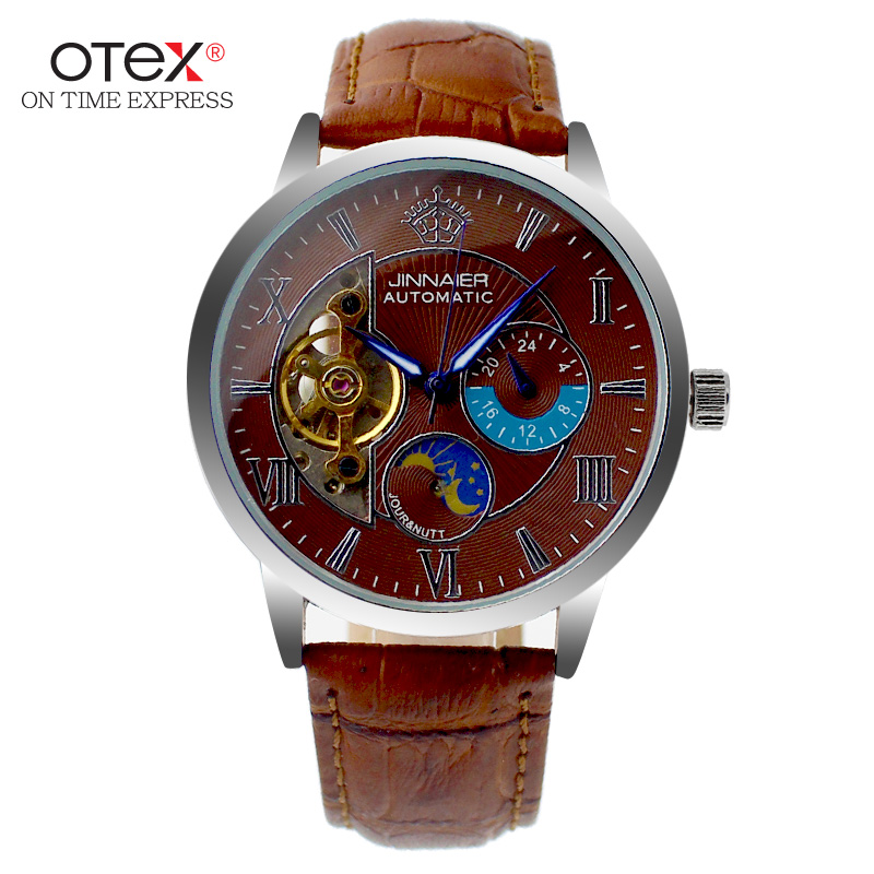 ot01 Mens watches Automatic mechanical watch tourbillon clock leather Casual business wristwatch relojes hombre top brand luxury u star excellent rate of ua 91570 ultra thin blade single blade model steel pliers ultimate gold scissors