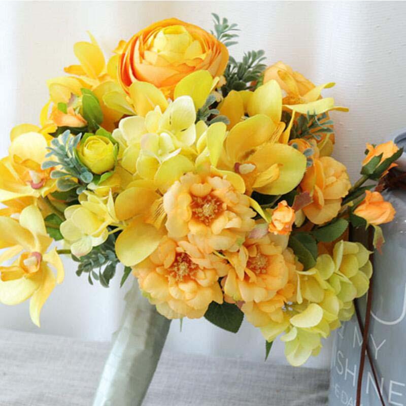 Bouquet de fleurs de mariage en soie jaune élégant fait à la main en Europe