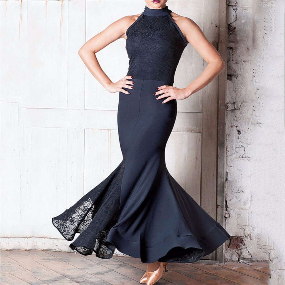 Fantasia Latin Dance Dresses For Ladies Black Color Sleeveless Skirts Professional Women Modern Flamenco Ballroom Costumes B024-in Latin from Novelty & Special Use    1