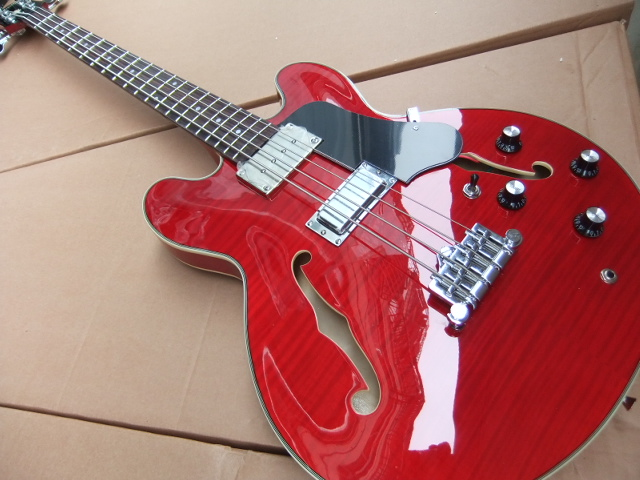 New Arrival 4 String ES 335 Model Electric Bass Guitar Semi Hollow Body In Red 110714 new arrival 1959 jazz es 355 electric guitar semi hollow with bigsby bridge in black 120410