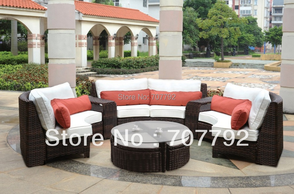 2015 Modern Outdoor Resin Wicker Curved Sectional Set   6 Piece Part 76