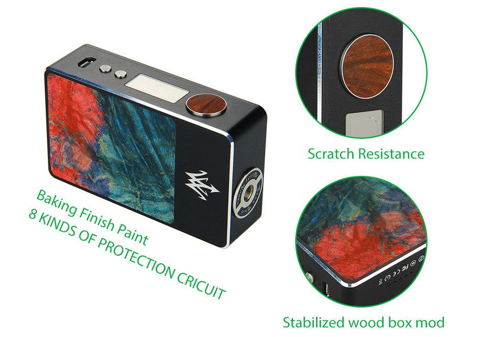 Woody Vapes Stabilized Wood X200 TC Box MOD WO Battery 4