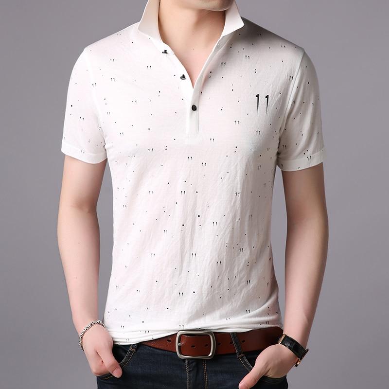 2019 New Fashions Brands   Polo   Shirt Men Print Top Grade Summer Short Sleeve Slim Fit Cotton Boys   Polos   Casual Mens Clothing