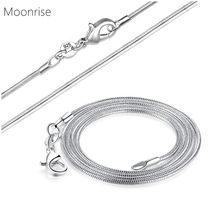 Corrente de cobra banhada à prata com fecho para jóias do pescoço diy, colar de 1.2mm, colar atacado 10 16 18 20 22 24 30