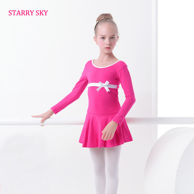 24781257d4 Children Dance Dress Autumn Long Sleeve Cute Bow Ballet Clothing For Girls  Kids Gymnastics Practice Child Show Ballet Costumes
