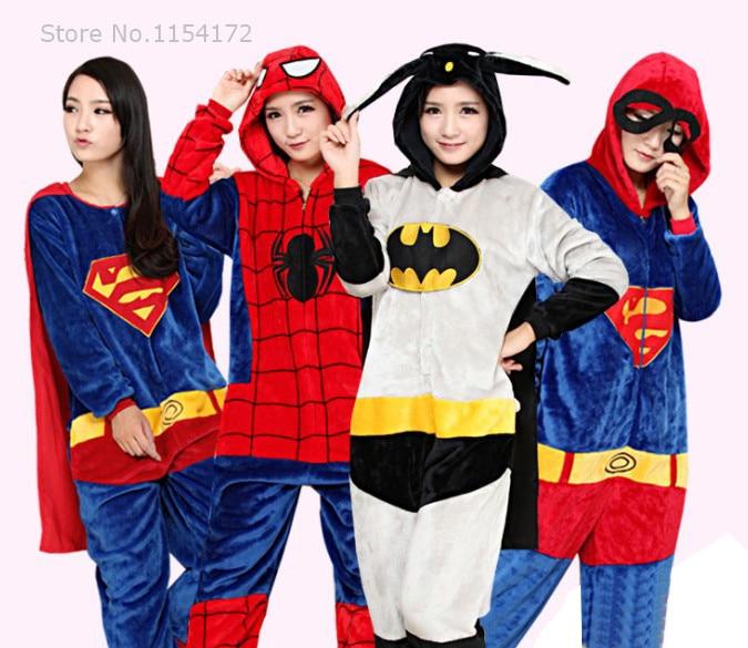Halloween Party Cosplay Kigurum Adult Onesies Avengers Batman/Iron man/Super-man/Captain America Hero Costumes Pajamas Sleepwear