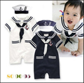 Baby clothing rompers roupas baby boys short sleeve romper + hat navy suit baby boy clothes babies costume infantil sleepsuit