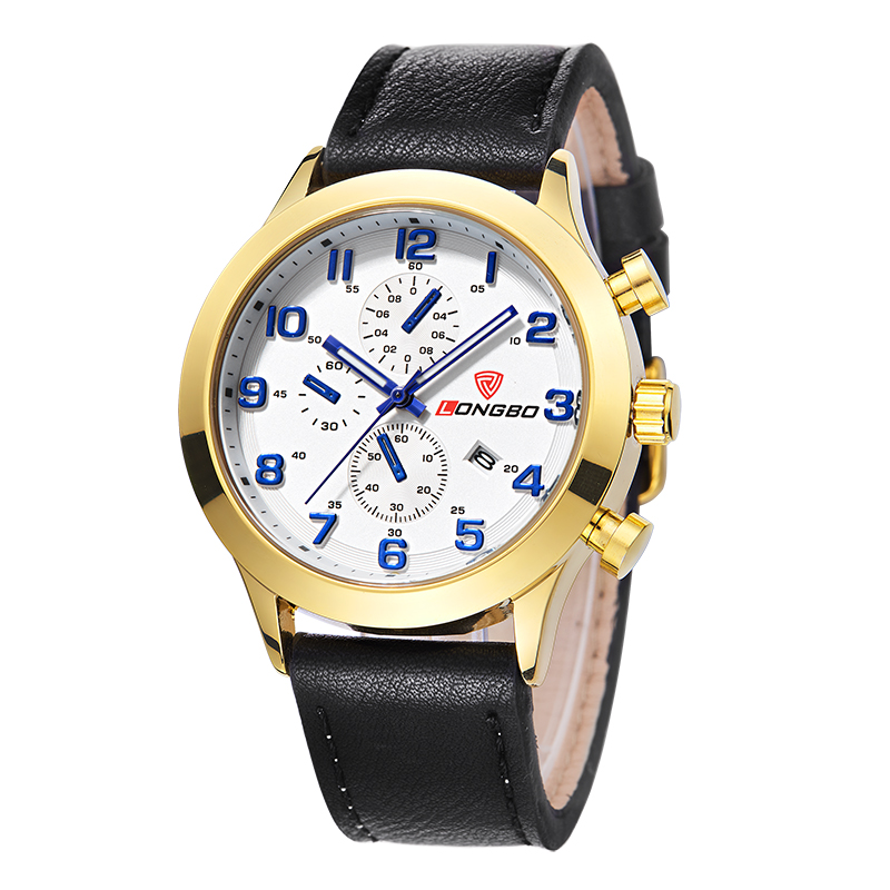 LONGBO Luxury Men Genuine Leather Watch Sports Quartz Watches For Man Male Leisure Clock Simple Watches