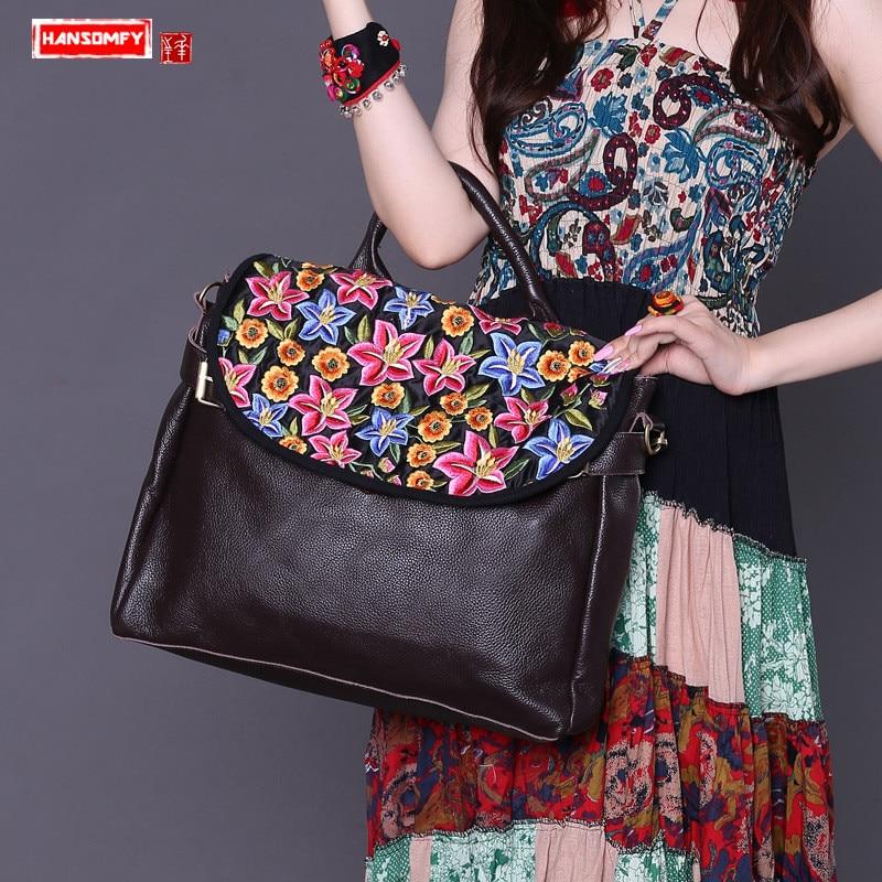 HANSOMFY New embroidered Women handbag genuine leather shoulder bag first layer leather portable slung briefcase messenger