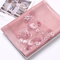 Women Silk Wool Blending Scarf 2019 Brand Shawls and Wraps for Ladies Wedding Ceremony Embroidery Chiffon Silk Scarves