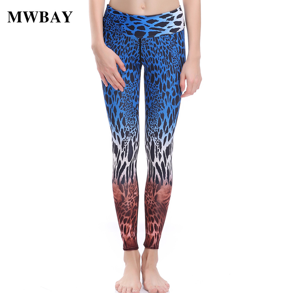 MWBAY Hot sale 2018 Female New   Pants   Women's leggings Fashion Leopard Print woman   Pant     Capris   Sweet women's Fitness