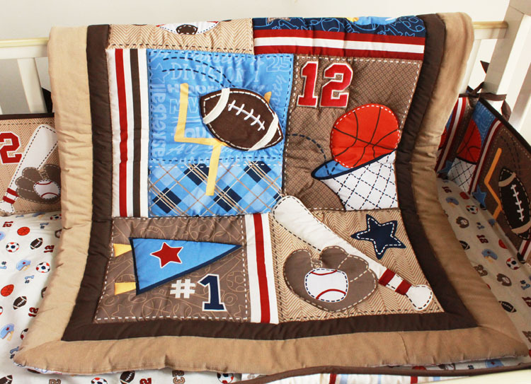 Baseball Sports Brown Baby Crib Bedding Set Embroidered 3d