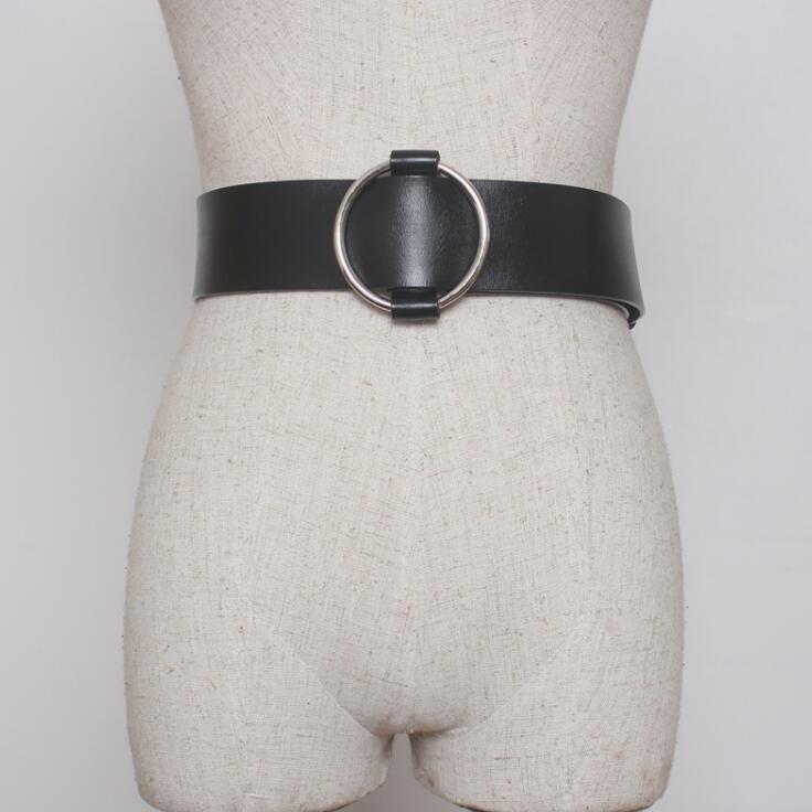 Women's Runway Fashion Genuine Cow Leather Cummerbunds Female Dress Corsets Waistband Belts Decoration Wide Belt R1534