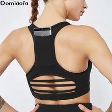 Domidofa Workout tops new back pocket sports bra shockproof horizontal stripe mesh workout yoga shirt gym vest