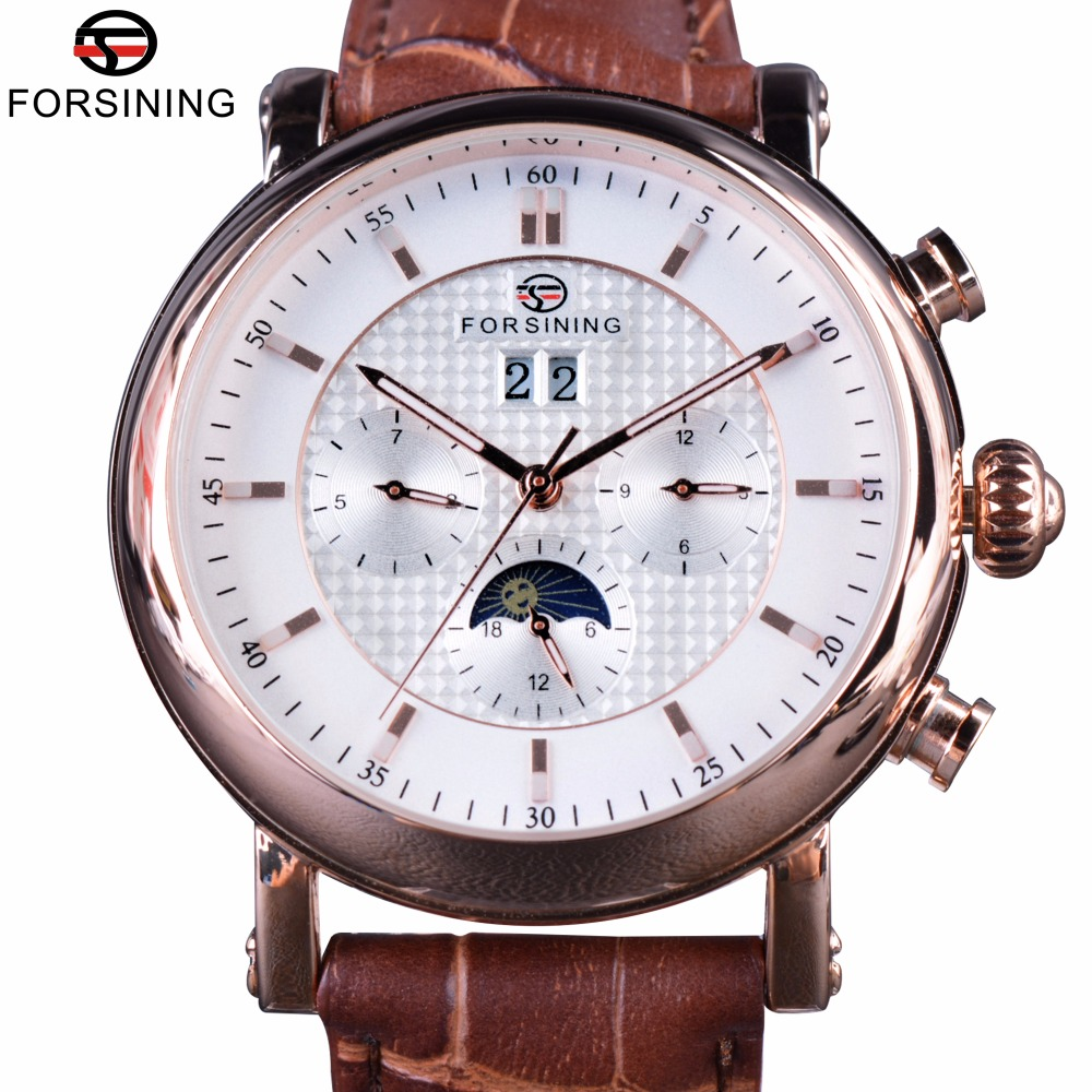 Forsining 2017 Luxury Rose Golden Series Moon Phase Calendar Design Clock Men Automatic Watch Top Brand Luxury Male Wrist Watch forsining date month display rose golden case mens watches top brand luxury automatic watch clock men casual fashion clock watch