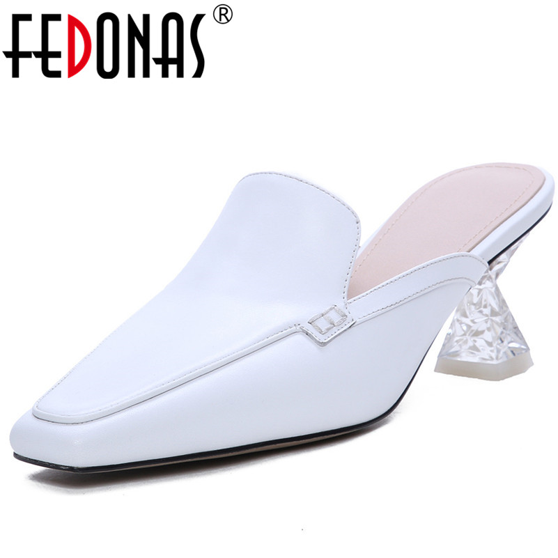 FEDONAS Top Quality Women High Heels Pumps Sexy Pointed Toe Mules Spring Summer Genuine Leather Shoes Woman Fashion Dress Pumps FEDONAS Top Quality Women High Heels Pumps Sexy Pointed Toe Mules Spring Summer Genuine Leather Shoes Woman Fashion Dress Pumps