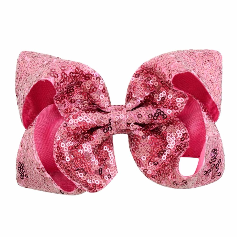 20Color 6 inch Colorued Stitching Glitter Sequin Bows with Dots Rainbow Hairpin Girls Large Bow Clip Gift Hair Accessorie 852