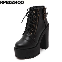 Lace Up Round Toe 14cm Autumn Extreme Black Gothic Platform Boots Punk Fetish Women Ankle Waterproof High Heel Booties Chunky