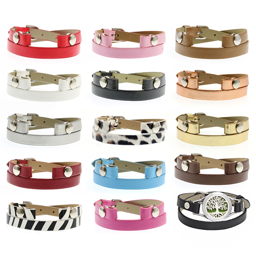 New 14 Colors 1pc PU Leather 8mm Wide 32mm Length Wristband Fit For Perfume Aroma Diffuser Locket Bracelet &Floating Locket