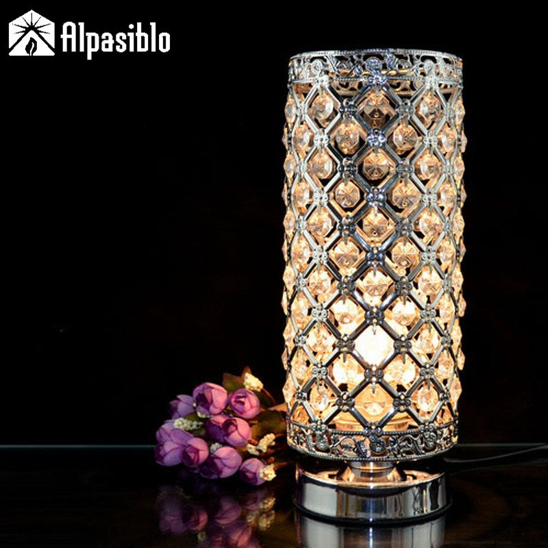 US $50.02 39% OFF|Modern Small crystal Table lamps brief bedroom bedside  desk lamp crystal table light K9 Crystal night lights silver golden lamp-in  ...