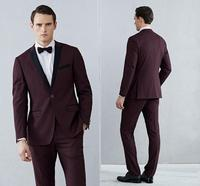 Shawl Claret Mens Suits Tuxedos Bridegroom Wedding Suit Formal Men Tuxedos Black And Red Jackets (Jacket+Pants+Bow Tie)