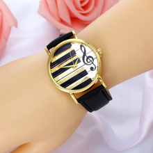 Causal And Style Black Leather-based Women' Watch Classic Retro Jewellery Wristwatch For Girls Music Piano Key Black And White Model