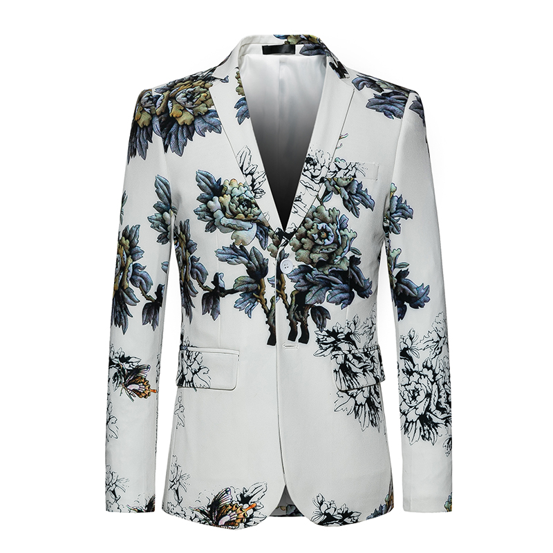 Mode Hommes de 1 veste zippée Blanc costume pour homme avec Floral Impression Slim Fit Fantaisie Blazer Fleur Mâle Robe Smoking Costume Homme