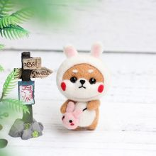 Rabbit Doll Wool Felt Craft DIY Non Finished Poked Set Handcraft Kit For Needle Material Bag Pack