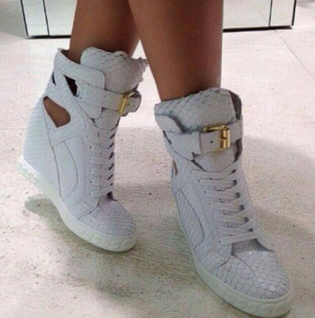 Fashion White Python Leather Ladies Lace Up High Tops Ankle Buckle Women Sexy Wedge Sneakers Cut Out Style Casual Shoes Size 41 все цены