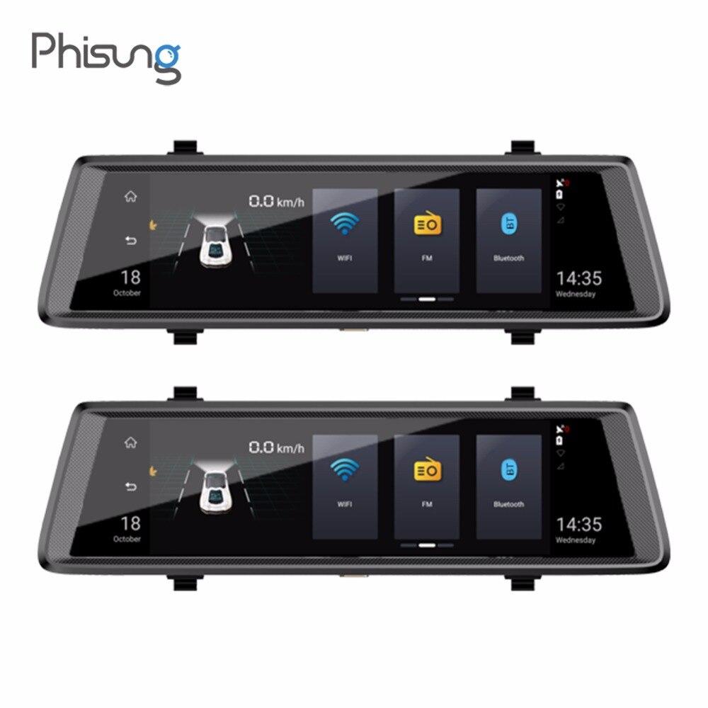 Phisung E05 10in 1080 p FHD Dual Lens Auto DVR 4g WiFi Android Auto Specchietto retrovisore Bluetooth Dash Cam ADAS GPS con Posteriore Cammera