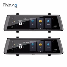 Phisung E05 10in 1080P FHD Dual Lens Car DVR 4G WiFi Android Car Rearview Mirror Bluetooth Dash Cam ADAS GPS with Rear Cammera