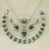Sterling Silver Jewelry Green Emerald White Topaz 4PCS Jewelry Sets Women Earring Pendant Necklace Bracelet Ring