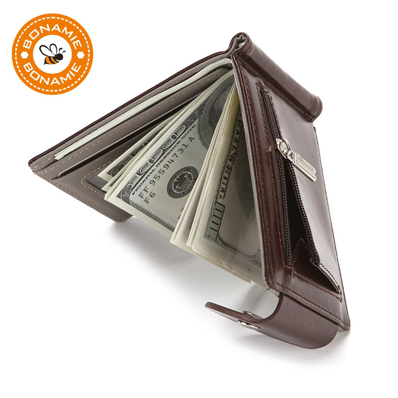 BONAMIE Men Wallet Vintage Short Money Clip Wallet Metal Leather Slim Male Organizer Minimalist Carteras Hombre New Card Purses