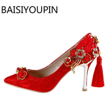 Women Beautiful Wedding Shoes Red Pointed Stilettos Lace Flower Tassel Bride Shoes Women's High Heels Shoes All Match Pumps