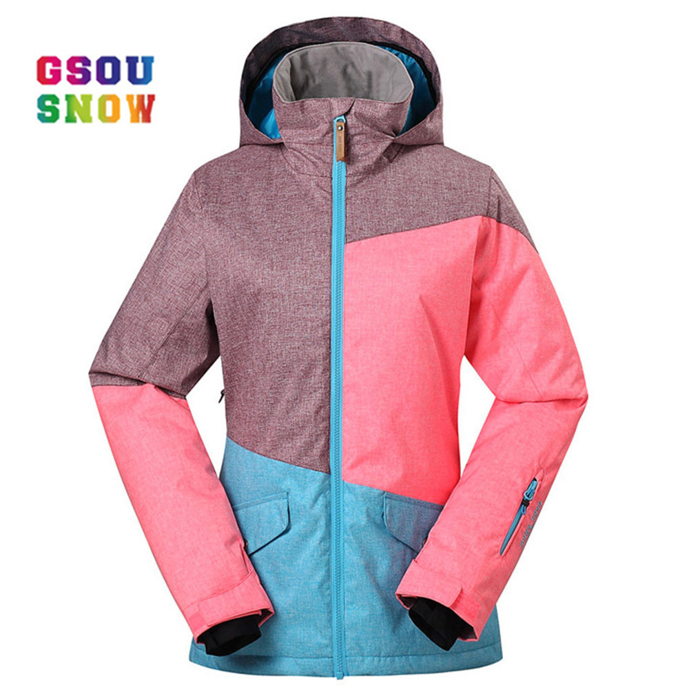 цены GSOU SNOW Brand Ski Jackets Women Winter Snow Coats High Quality Ladies Snowboard Jacket Warm Thicken Waterproof Ski Wear Ropa
