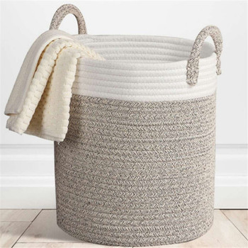 Large Cotton Line Laundry Bucket Storage Basket Fabric Woven Storage Basket Clothing Toy Finishing Basket Laundry Basket laundry basket curver infinity 59 l gray