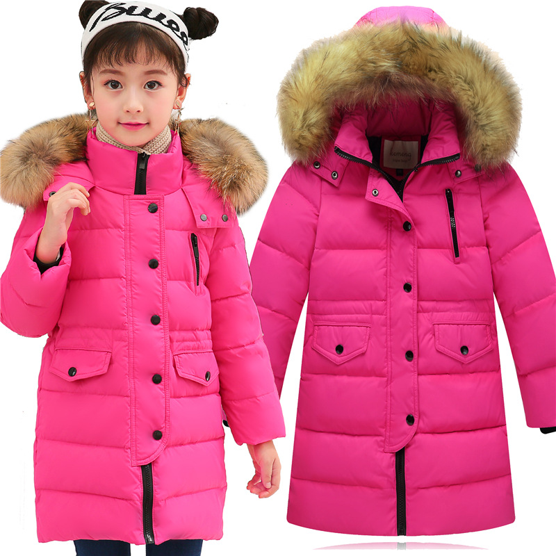 New 2017 Winter Down Parka Coats For Girls Fashion Fur Collar Children's Hooded Thick Cotton Warm Clothing Outwear Kids Jacket northmarch brand genuine leather men casual shoes fashion style leather men shoes designer casual shoes for sneakers men summer