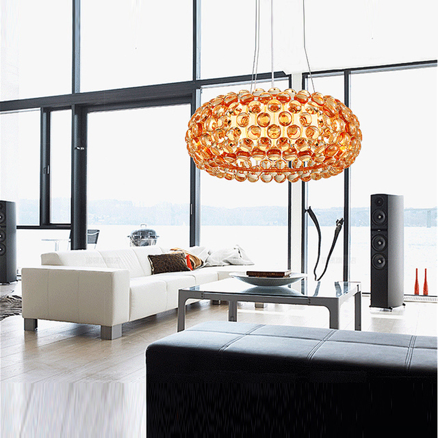 Round Champagne Gold Hanging Lamp for dining room acrylic pearl Pendant Lights For Art Studio Salon Villa Hotel Rome Style lamps