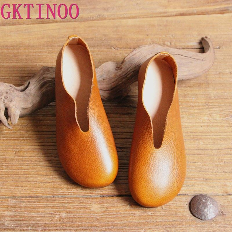 2019 Women Shoes Summer Spring Genuine Leather Loafers Casual Solid Slip On Round Toe Handmade Flats