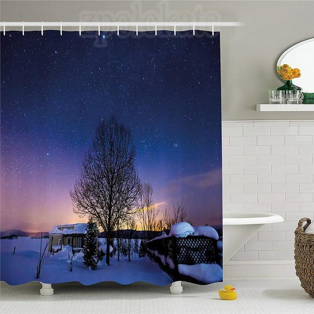 Night Sky Shower Curtain Japan Hokkaido Biei At Winter Landscape Nebula Cottage Stars View Fabric Bathroom Decor Set With Hook