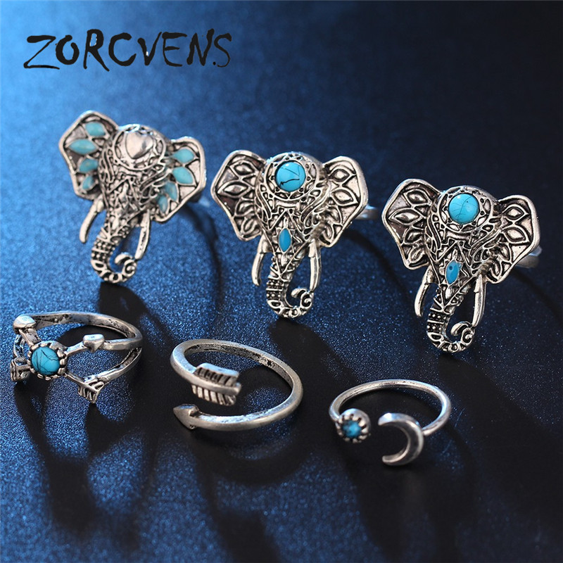 ZORCVENS 8pcs/Set Midi ring Sets for Women Boho Anel Beach Vintage Tibetan Turkish Crystal Silver Color Flower Knuckle Rings Gif