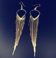 2015 Fashion metal Tassel Long Earrings Female Brand Jewelry Gold/Silver Jewelry Exaggerated punk Dangle Earring christmas gift