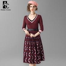 508bfaf6860 Весна-осень женщина платье Черный Розовый границы манжеты v-образным  вырезом красное вино трикотажное платье с поясом геометриче.