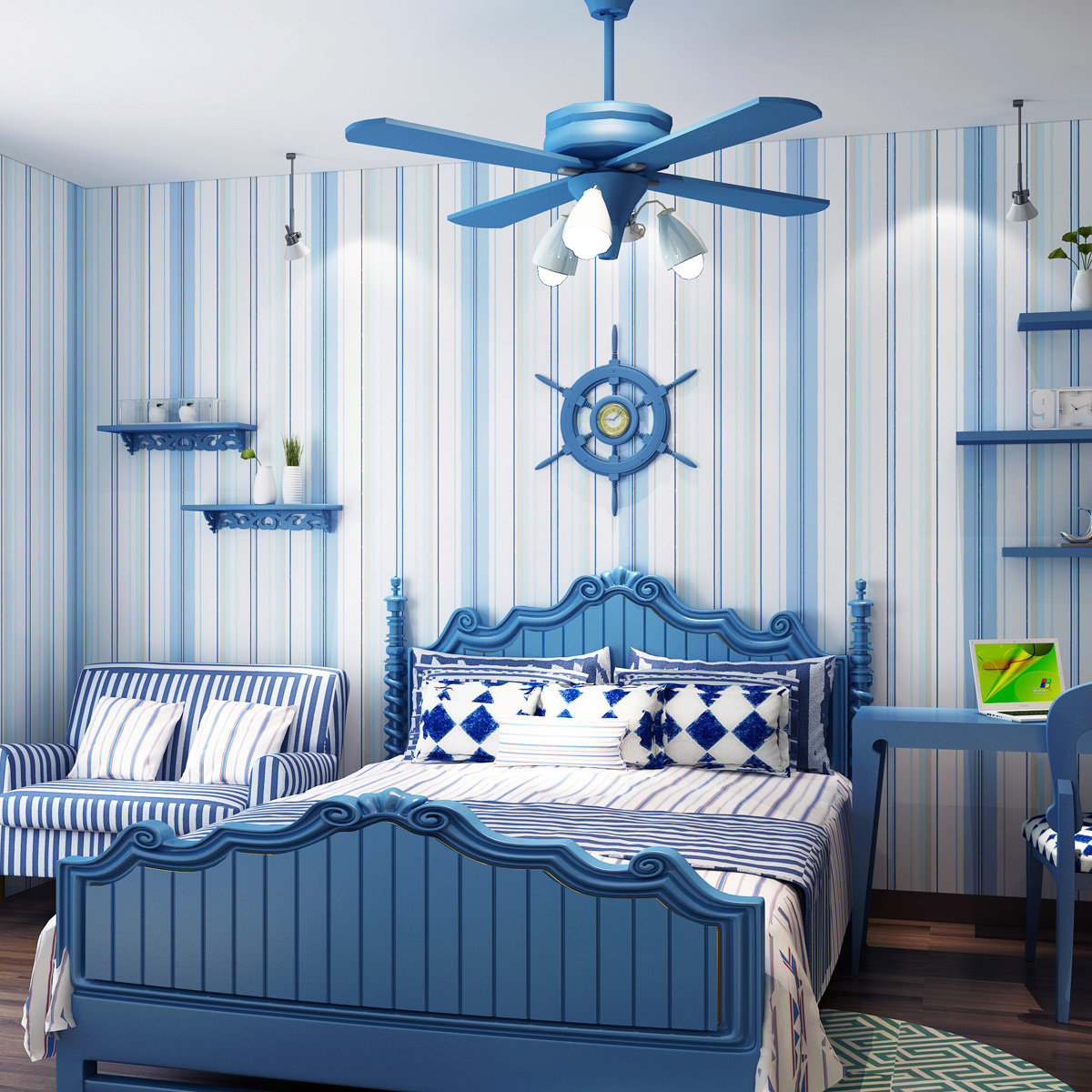 bedroom boy children simple living beach themed vertical stripe wallpapers sea